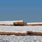 Timber stacks on snow Royalty Free Stock Photography