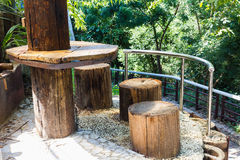 Timber table and chairs Royalty Free Stock Photography