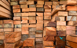 Timber transport truck Park waiting for inspection. With lumber for construction.selective focus Stock Photography