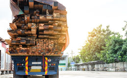 Timber transport truck Park waiting for inspection. With lumber for construction.selective focus Royalty Free Stock Images
