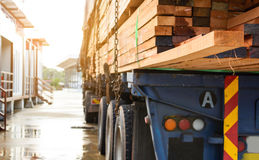 Timber transport truck Park waiting for inspection. With lumber for construction.selective focus Stock Photo