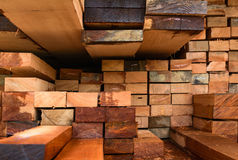 Timber transport truck Park waiting for inspection. With lumber for construction.selective focus Royalty Free Stock Photography