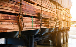 Timber transport truck Park waiting for inspection. With lumber for construction.selective focus Royalty Free Stock Photos
