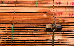 Timber transport truck Park waiting for inspection. With lumber for construction and texture background .selective focus Royalty Free Stock Photography