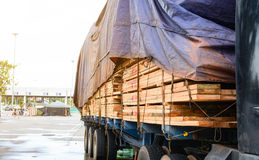Timber transport truck Park waiting for inspection. With lumber for construction.selective focus Royalty Free Stock Image