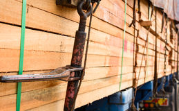 Timber transport truck Park waiting for inspection. With lumber for construction.selective focus Stock Images