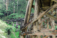 Timber trestle railway bridge in the Dandenong Ranges. A timber trestle railway bridge of the Puffing Billy tourist railway just outside Belgrave in the Royalty Free Stock Photography