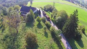 Timber truck aerial view stock video