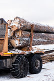 Timber truck just finished loading Stock Images