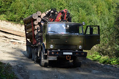 Timber truck with loader lumber. In forest Stock Image