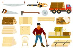 Timber vector woodcutter character or logger saws lumber or hardwood set of wooden timbered materials in sawmill. Isolated on white background Stock Images