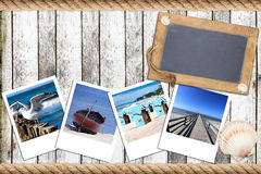 Timber wall with an old slate blackboard and instant pictures Royalty Free Stock Photography