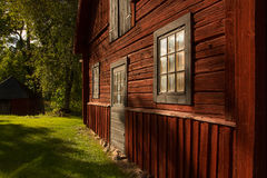 Timber wall. A typical swedish red timber wall Royalty Free Stock Photos
