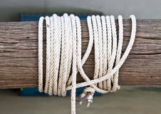 Timber with a white rope. Royalty Free Stock Photography
