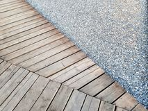 Timber wood Footpath gravel sidewalk royalty free stock photos