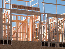 Timber work. Townhome construction with wood framing Stock Images