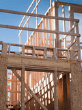 Timber work. Townhome construction with wood framing Stock Image