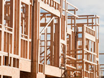 Timber work. Townhome construction with wood framing Stock Photo