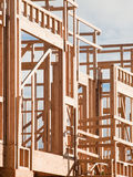 Timber work. Townhome construction with wood framing Royalty Free Stock Images