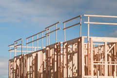 Timber work. Townhome construction with wood framing Royalty Free Stock Photos