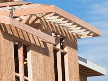 Timber work. Townhome construction with wood framing Royalty Free Stock Image