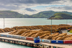 Timber yard - Port Chalmers, New Zealand with timber ready for e Stock Images