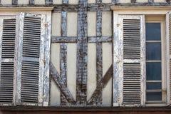 Старые полу-timbered здания в Труа Об, Шампань-Ardenne, стоковое изображение