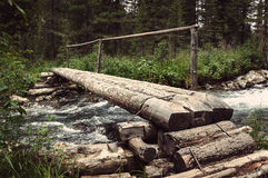 the timbered bridge passes through Royalty Free Stock Images