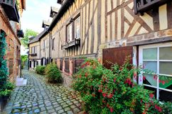 Timbered buildings in the town of Honfleur, Normandy, France. Picturesque timbered buildings in the Normandy town of Honfleur, France Royalty Free Stock Photos