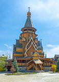 The timbered Church of St Nicholas. The facade of the timbered St Nicholas Church, the proud of Izmailovsky Kremlin, the tallest wooden church in Russia, Moscow Royalty Free Stock Photo