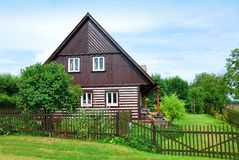 Timbered countryside house with garden Royalty Free Stock Photo