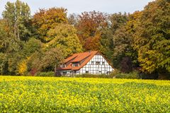 Timbered house in Bad Iburg, Osnabrück country, Lower Saxony, Germany. Europe Royalty Free Stock Image