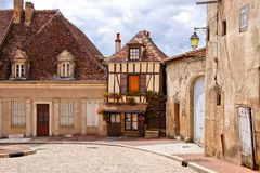Timbered house on a quaint street in Burgundy, France Royalty Free Stock Photography