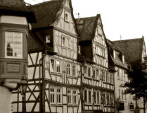 Timbered houses. Very old houses in a small village in germany royalty free stock photo