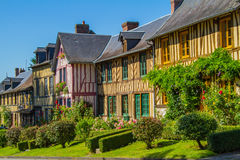 Timbered Houses in Normandy. Norman half-timbered houses in a village in Normandy Le Bec-Hellouin Stock Photos
