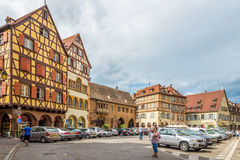 Timbered houses in the streets of Colmar city. Stock Photos