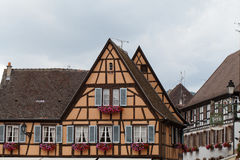 Timbered houses in the village of Eguisheim in Alsace Royalty Free Stock Images