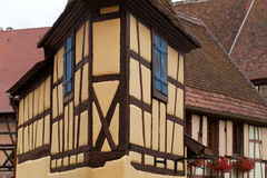 Timbered houses in the village of Eguisheim in Alsace Stock Photography