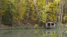 Timbered lodge on the lake in the woods stock video footage