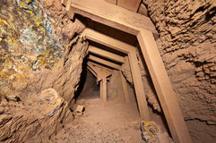Timbered Mine Tunnel Royalty Free Stock Images