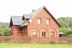 Timbered mountain cottage Stock Photo