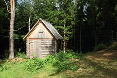 Timbered shed. Wooden outhouse standing in the forest by a path to ruin of castle Louzek, Czech Republic Stock Image