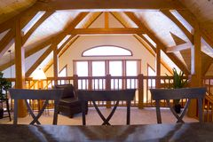 Timberframe loft area Stock Images