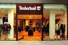 Timberland clothes store Royalty Free Stock Photos