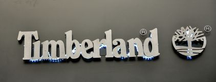 Timberland shoes brand logo Stock Photography