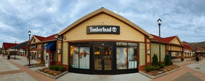Timberland Store in Woodbury Common Premium Outlet Mall. CENTRAL VALLEY, NY - MAY 4, 2018: Timberland Store in Woodbury Common Premium Outlet Mall. Timberland Royalty Free Stock Image