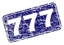 Timbre arrondi rayé de rectangle encadré par 777 Illustration Libre de Droits