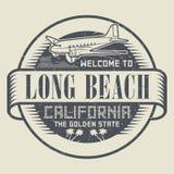 Timbre avec l'accueil d'avion et de textes vers la Californie, Long Beach Photographie stock libre de droits