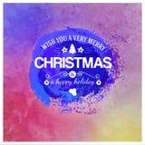 Timbre bleu d'aquarelle avec des félicitations de Noël Image stock