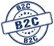timbre bleu de b2c Photographie stock